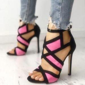 Color Block Pink and Black High Heels